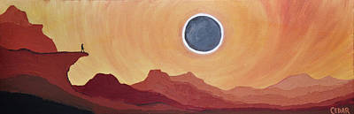 Eclipse From The Precipice Poster by Cedar Lee
