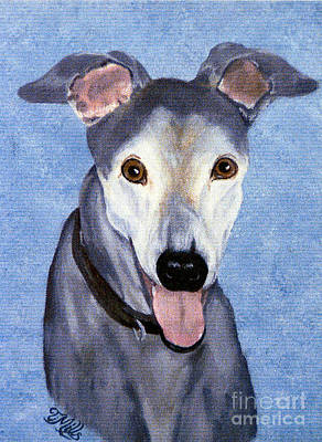 Poster featuring the painting Eddie - Greyhound by Terri Mills