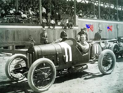 Eddie Rickenbacker Fair Grounds Track 103 Mile Auto Race   March 20 1915 Tucson Az Color Added 2012 Poster by David Lee Guss