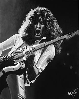 Eddie Van Halen - Black And White Poster by Tom Carlton