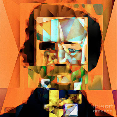 Edgar Allan Poe In Abstract Cubism 20170325 Square Poster by Wingsdomain Art and Photography
