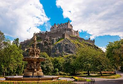 Edinburgh Castle From The Gardens Poster