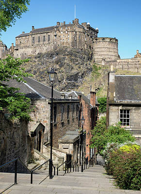 Poster featuring the photograph Edinburgh Castle From The Vennel by Jeremy Lavender Photography