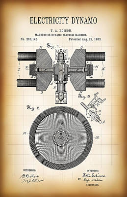 Edison Electricity Generator Dynamo  1882 Poster