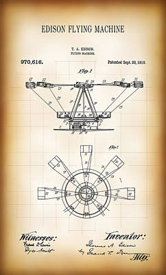 Edison Flying Machine Patent  1910 Poster by Daniel Hagerman