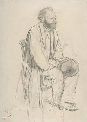 Edouard Manet, Seated, Holding His Hat Poster