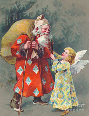 Edwardian Christmas Card Of Father Christmas Carrying A Sack And Talking To An Angel Poster
