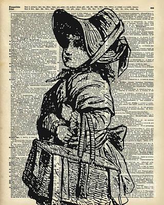 Edwardian Girl With Basket Poster