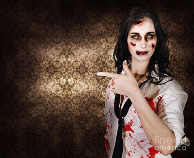Eerie Woman Pointing To Halloween Copyspace Poster by Jorgo Photography - Wall Art Gallery