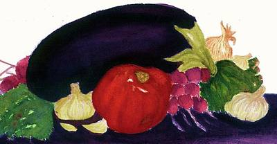 Poster featuring the painting Eggplant Casserole by Joan Zepf