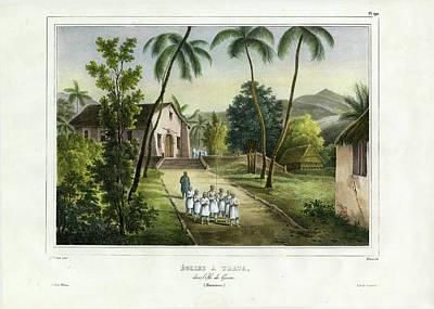Eglise A Guam Church On Guam Poster by Dumont d Urville de Sainson