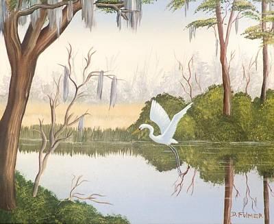 Egret In Flight 1 Poster by Denise Fulmer