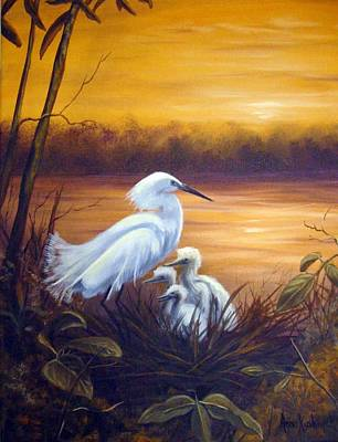 Egret With Chicks Poster