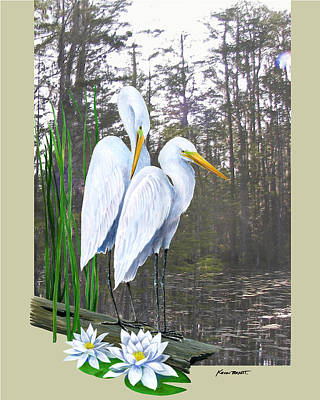Egrets And Cypress Pond Poster by Kevin Brant