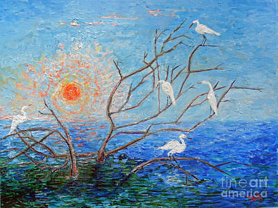 Egrets At Sunrise Poster