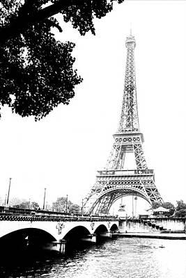 Eiffel And Bridge Poster by Georgia Fowler