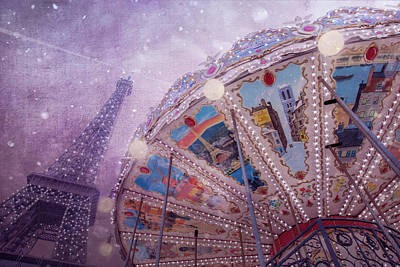 Eiffel Tower And Carousel Poster by Clare Bambers