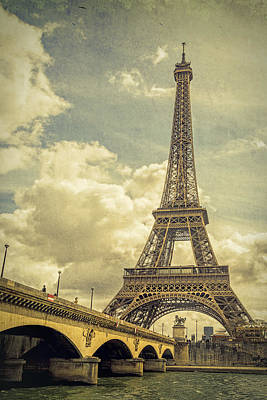 Eiffel Tower And Pont D'lena Vintage Poster by Joan Carroll