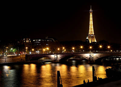 Poster featuring the photograph Eiffel Tower At Night 1 by Andrew Fare