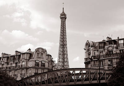 Eiffel Tower Black And White 3 Poster by Andrew Fare
