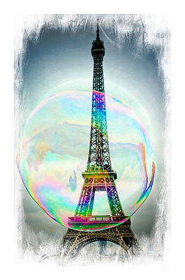 Eiffel Tower Bubble Poster by Lilliana Mendez