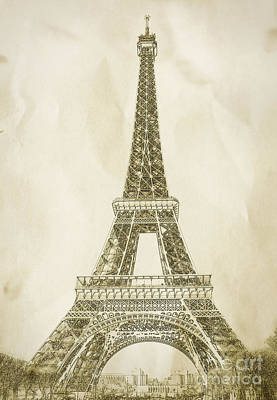 Eiffel Tower Illustration Poster by Paul Topp