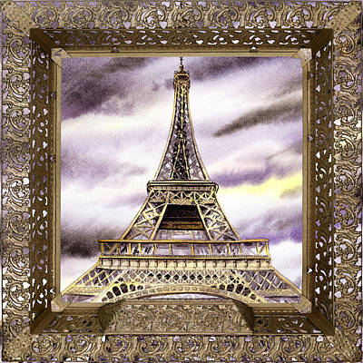 Poster featuring the painting Eiffel Tower Laces Iv  by Irina Sztukowski