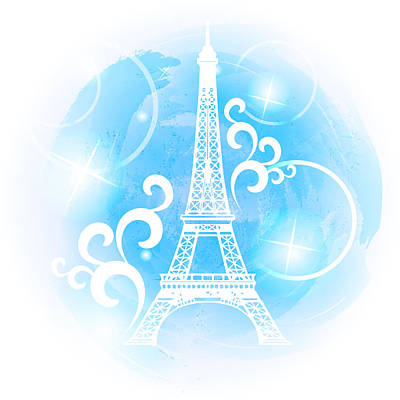 Eiffel Tower On A Blue Watercolor Background Poster