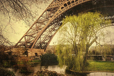 Eiffel Tower Paris Footprint Vintage Poster