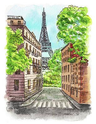 Poster featuring the painting Eiffel Tower Summer Paris Day by Irina Sztukowski