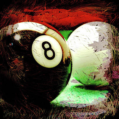 Eight And Cue Ball Poster by David G Paul