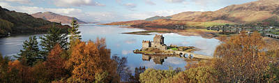 Poster featuring the photograph Eilean Donan Castle Panorama In Autumn by Grant Glendinning