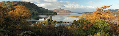 Poster featuring the photograph Eilean Donan Panorama - Autumn by Grant Glendinning