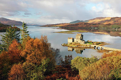 Poster featuring the photograph Eilean Donan Reflection In Autumn by Grant Glendinning