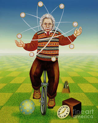 Einstein Juggling With Time Poster