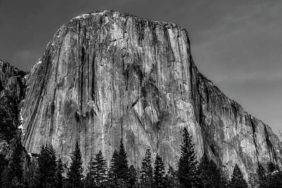 El Capitan Mountain In Black And White Poster