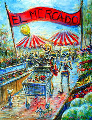 Poster featuring the painting El Mercado by Heather Calderon