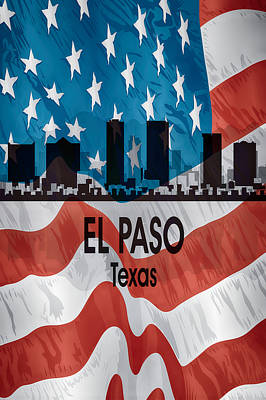 El Paso Tx American Flag Vertical Poster by Angelina Vick
