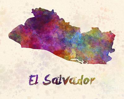 El Salvador In Watercolor Poster by Pablo Romero