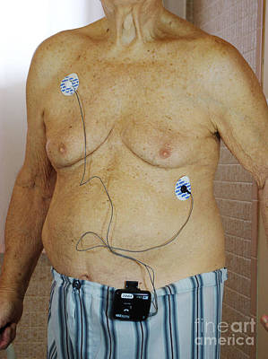 Elderly Man With Cardiac Event Recorder Poster