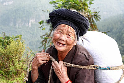 Elderly Miao Woman On Mountain Road Poster