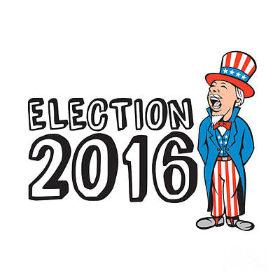 Election 2016 Uncle Sam Shouting Retro Poster