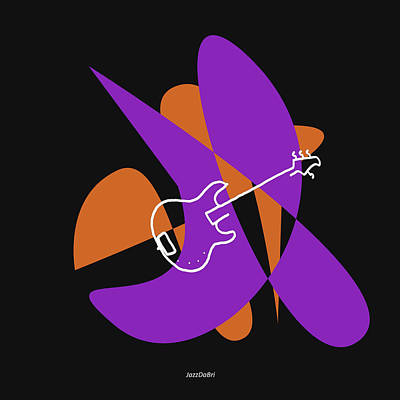 Electric Bass In Purple Poster