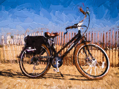 Electric Bike On The Sand Poster by Vivian Frerichs