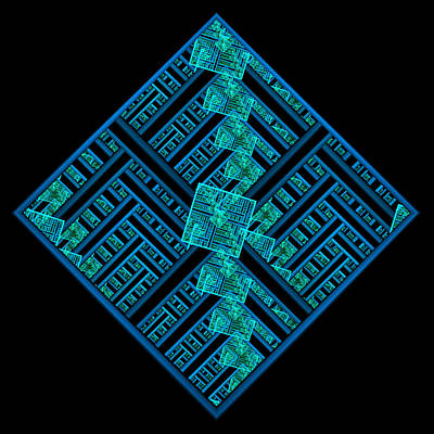 Electric Blue Squares Poster