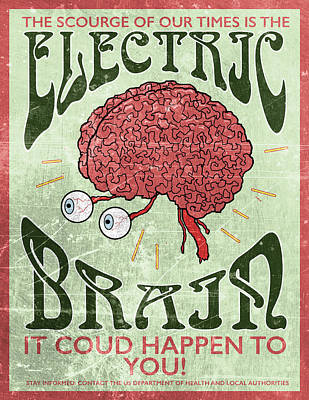 Electric Brain Poster by H James Hoff