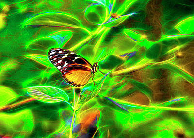 Poster featuring the digital art Electric Butterfly by James Steele