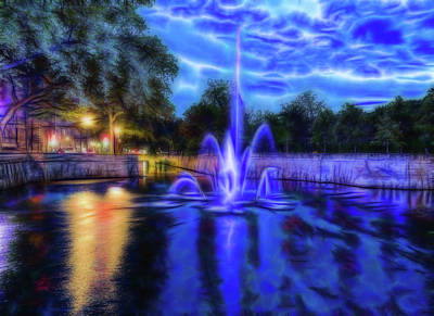 Poster featuring the photograph Electric Fountain  by Scott Carruthers