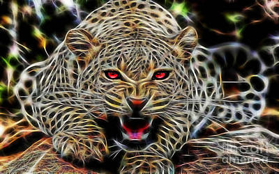 Electric Leopard Wall Art Collection Poster