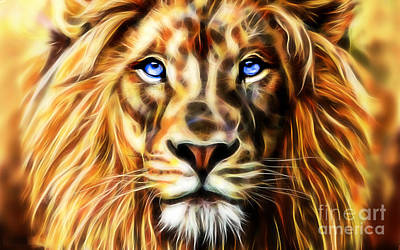 Electric Lion Wall Art Collection Poster